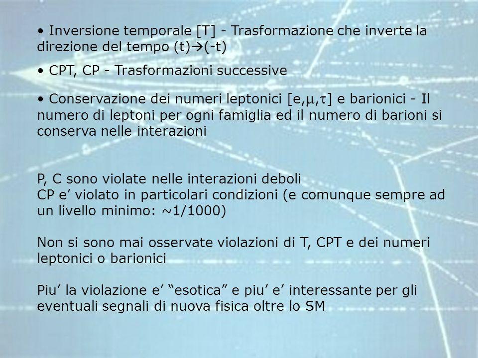 Inversione temporale [T] - Trasformazione che inverte la direzione del tempo (t)(-t)